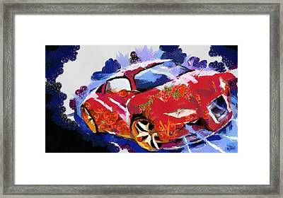Framed Print featuring the painting Chubby Car Red by Catherine Lott