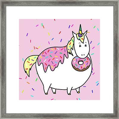 Chubby Unicorn Eating Sprinkle Doughnut Framed Print by Crista Forest