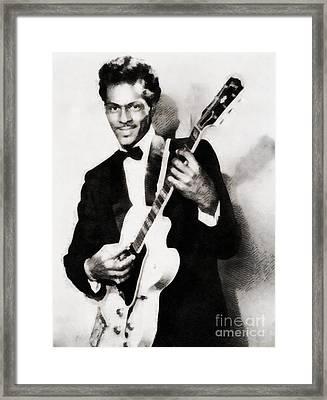 Chuck Berry, Vintage Music Legend Framed Print by John Springfield