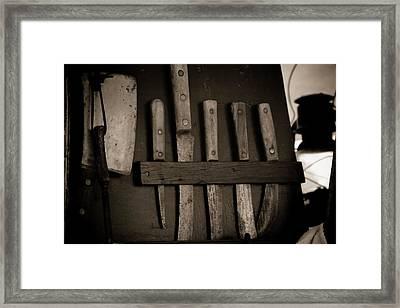Chuck Wagon Knives Framed Print by Toni Hopper