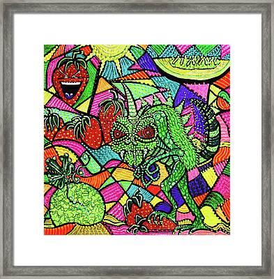 Chupacabra Loves Strawberry Melon Framed Print