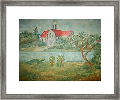 Church Across River Framed Print by Joseph Sandora Jr