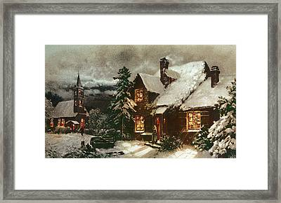Church And Cottage With Lighted Windows Framed Print