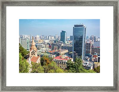 Church And Downtown Santiago Framed Print by Jess Kraft