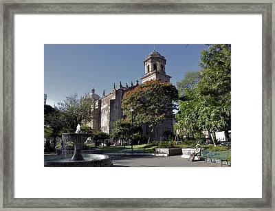 Framed Print featuring the photograph Church And Fountain Guadalajara by Jim Walls PhotoArtist