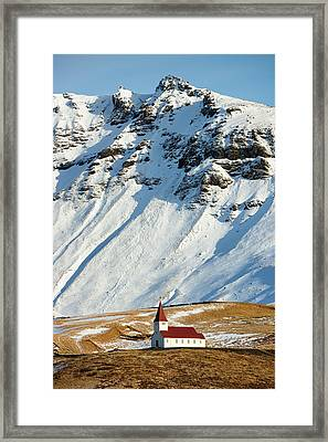 Framed Print featuring the photograph Church And Mountains In Winter Vik Iceland by Matthias Hauser