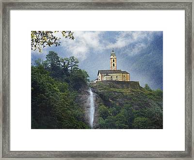 Church And Waterfall In Italy Framed Print