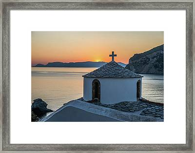 Church At Sunrise, Skopelos, Greece Framed Print
