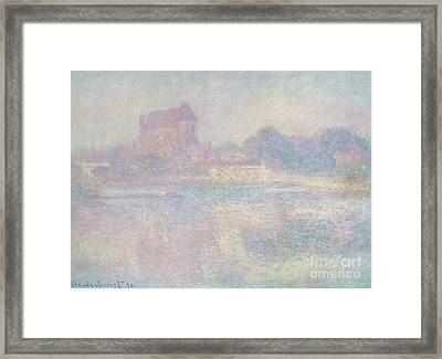 Church At Vernon  In The Fog Framed Print