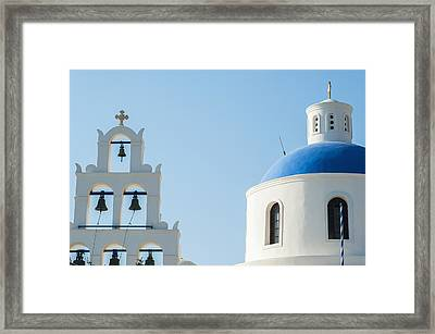 Church Domed Roof And Bells  Oia Framed Print by Dosfotos