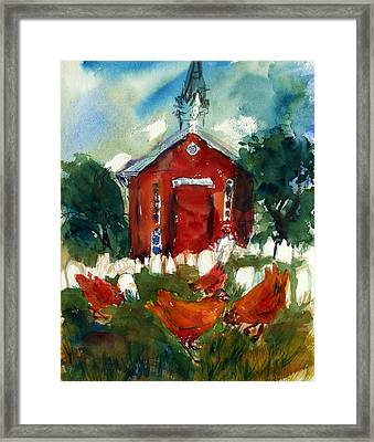 Church Hens Framed Print by Diana Ludwig