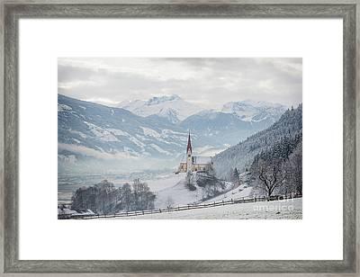 Church In Alpine Zillertal Valley In Winter Framed Print