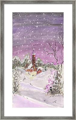 Framed Print featuring the digital art Church In The Snow by Darren Cannell