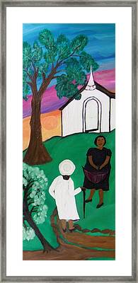 Framed Print featuring the painting Church Ladies  by Mildred Chatman
