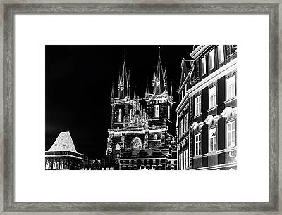 Framed Print featuring the photograph Church Of Our Lady Before Tyn. Night Prague by Jenny Rainbow