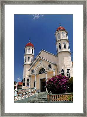 Church Of San Rafael In Zarcero Costa Rica At Park Francisco Alv Framed Print
