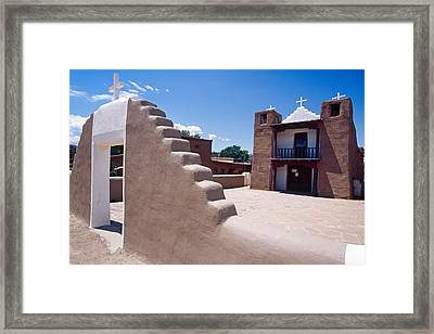 Church Of Taos Pueblo New Mexico Framed Print by George Oze
