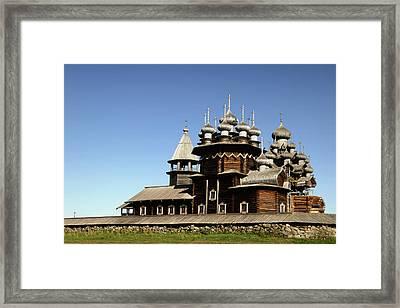 Church Of The Transfiguration Kizhi Russia Framed Print by Linda Dunn