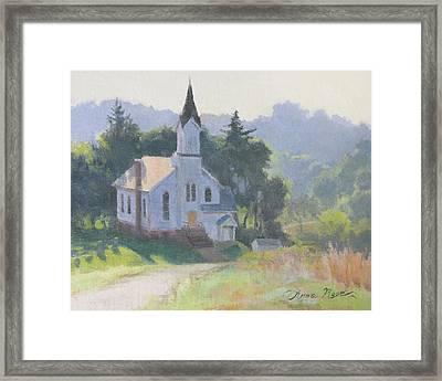 Church On A Hill Framed Print by Anna Rose Bain
