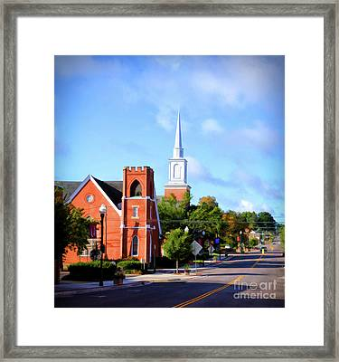Framed Print featuring the photograph Church On Main Street - Christiansburg Virginia  by Kerri Farley