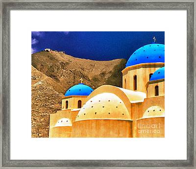 Church Perissa Santorini Greece Framed Print
