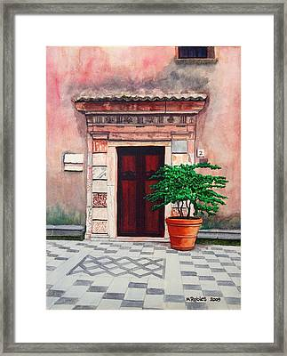 Church Side Door - Taormina Sicily Framed Print by Mike Robles