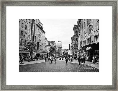 church street pedestrian shopping area Liverpool city centre England UK Framed Print