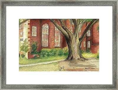 Framed Print featuring the painting Church Tree by Denise Fulmer