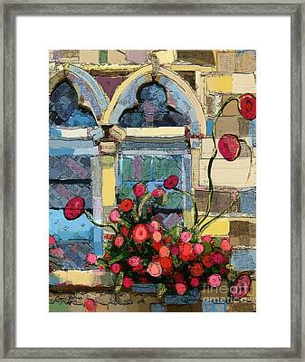 Framed Print featuring the painting Church Window by Carrie Joy Byrnes