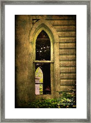 Church Window Church Bell Framed Print by Lois Bryan