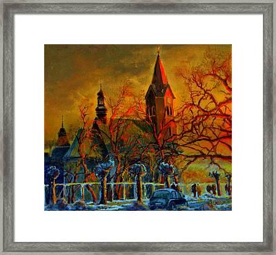 Church Winter Sunset Framed Print
