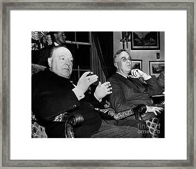 Churchill & Roosevelt Framed Print by Granger