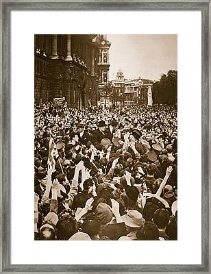 Churchill Mobbed In Whitehall On Ve Day Framed Print by English School