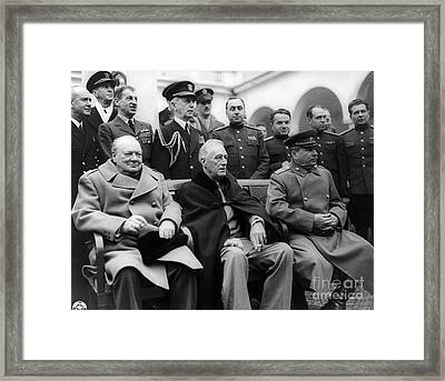 Churchill, Roosevelt And Stalin Framed Print by Science Source