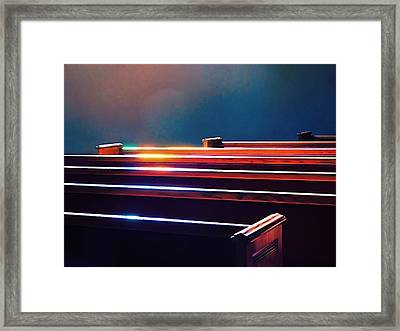 Churchlight -- Pews Under Stained Glass Framed Print by Wendy J St Christopher