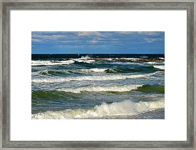 Churning Sea At Sesuit Harbor - Cape Cod Framed Print by Dianne Cowen