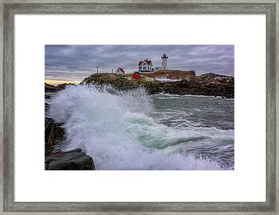 Churning Seas At Cape Neddick Framed Print by Rick Berk