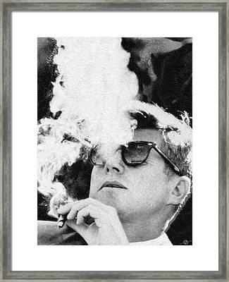 Cigar Smoker Cigar Lover Jfk Gifts Black And White Photo Framed Print