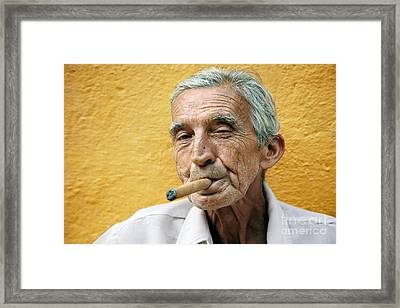 Cigar Smoking - Trinidad - Cuba Framed Print