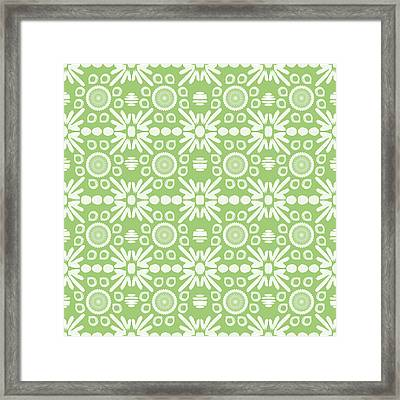Cilantro- Green And White Art By Linda Woods Framed Print by Linda Woods