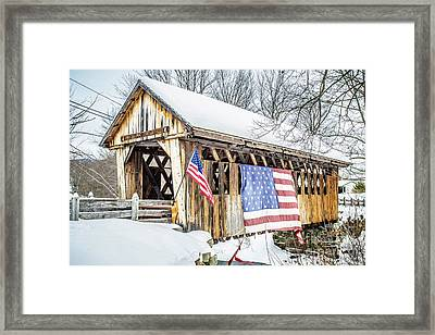 Cilleyville Bog Bridge Covered Bridge New Hampshire Framed Print by Edward Fielding