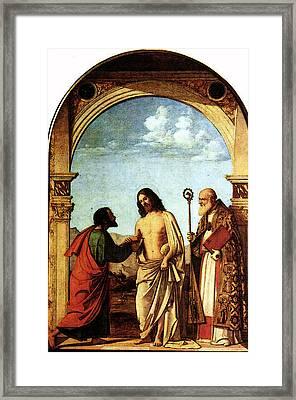 Cima Da Conegliano The Incredulity Of St Thomas With St Magno Vescovo Framed Print
