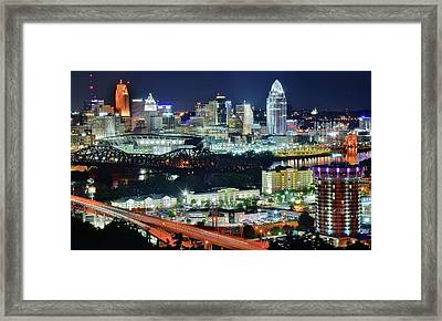 Cincinnati And Covington Collide Framed Print