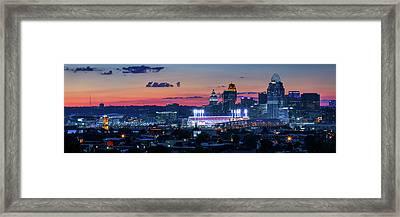 Cincinnati And Sky Pamorama Framed Print