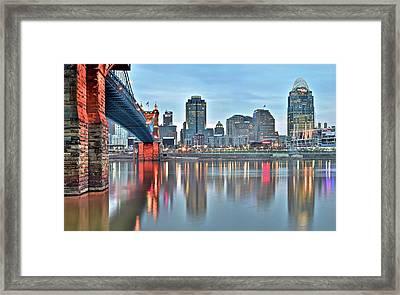 Cincinnati At Dusk Framed Print by Frozen in Time Fine Art Photography