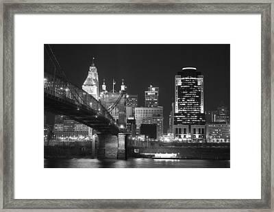 Cincinnati At Night Framed Print by Russell Todd