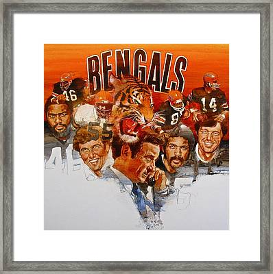Framed Print featuring the painting Cincinnati Bengals by Cliff Spohn