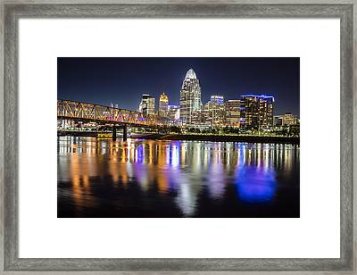 Cincinnati Blue Hour Reflection Framed Print