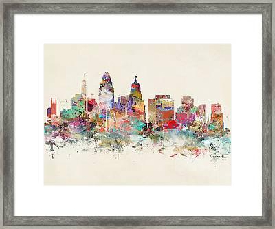 Cincinnati City Skyline Framed Print