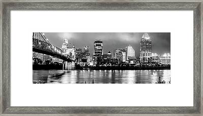 Cincinnati Downtown Skyline Panorama Black And White Framed Print
